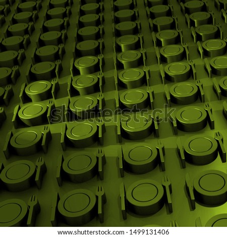 3D. Rendered. Green. Empty plates. Knife and fork. Arrays. Symbols. Metallic. Square background image. Symbolism of hunger.