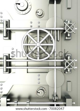 3D rendered Illustration. A bank vault door.