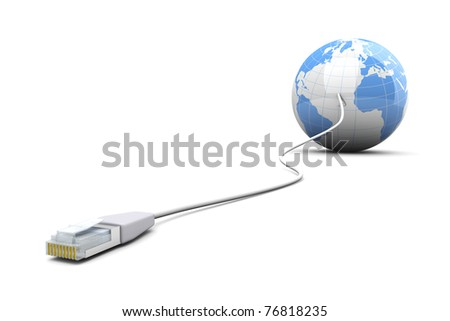 3D rendered Illustration. A cable connected World. Isolated on white.