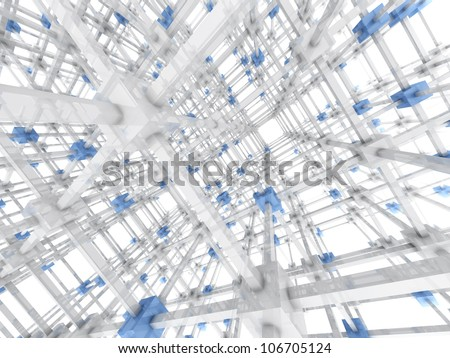3D rendered Illustration. A 3 dimensional grid. Isolated on white.