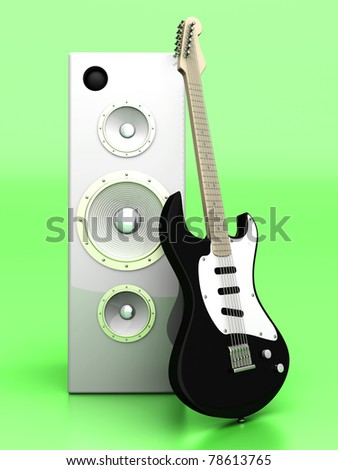 3D rendered Illustration. A guitar with a group of Speakers.