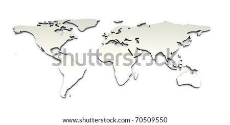 3D rendered Illustration. A metallic World map.