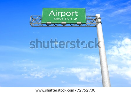 3D rendered Illustration. Highway Sign next exit to the Airport.