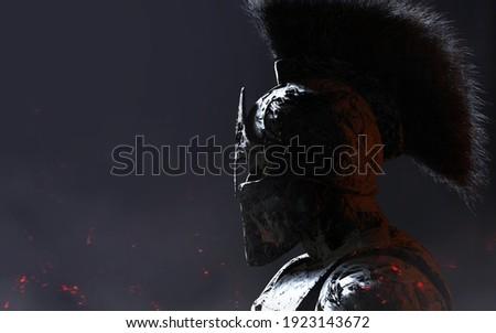 3d rendered illustration image of stone spartan warrior in helmet statue on dark background.