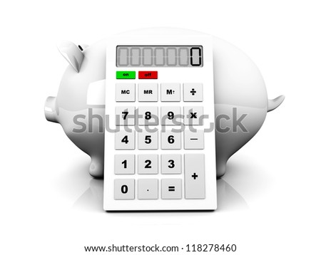 3D rendered Illustration. Isolated on white. A piggy Bank with a calculator.
