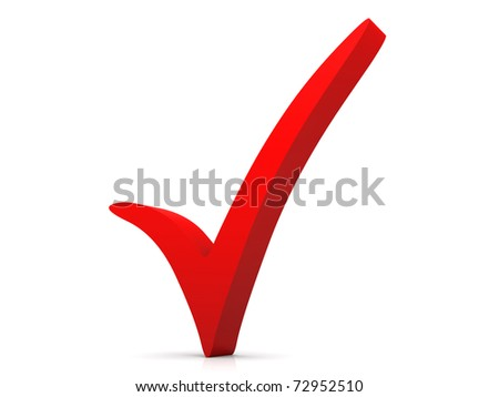 3D rendered Illustration. Isolated on white. A red checkmark.