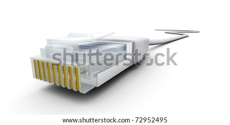 3D rendered Illustration. Isolated on white. A RJ45 Cable.