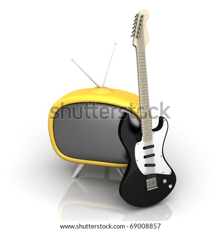 3D rendered Illustration. Isolated on white. Retro tube TV with an classic electric Guitar.