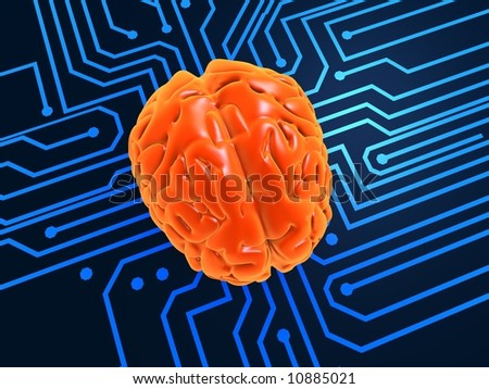 3d rendered illustration of a chip and a human brain