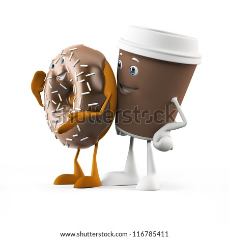 3d rendered illustration of a coffee cup and donut - stock photo