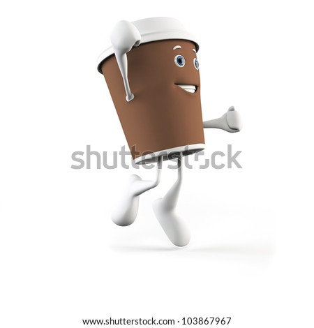 3d rendered illustration of a coffee cup character