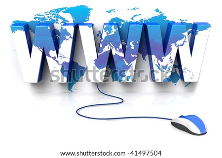 3D rendered illustration of a computer mouse connected to a WWW sign, displaying a world atlas