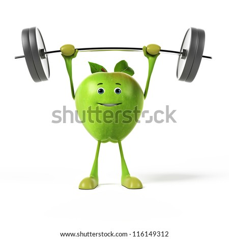 3d rendered illustration of a green apple - stock photo