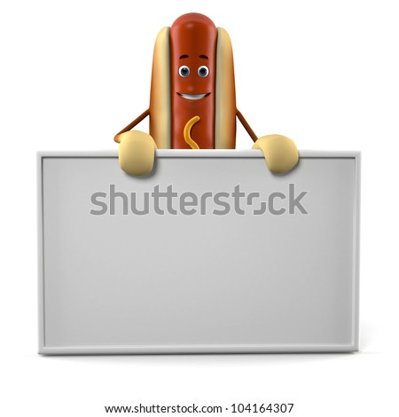 3d rendered illustration of a hot dog character - stock photo