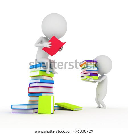 3d rendered illustration of a little guy reading books
