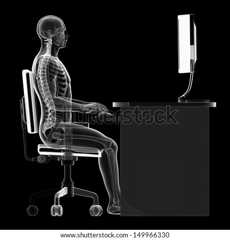 3D rendered illustration of a man working on pc correct sitting posture