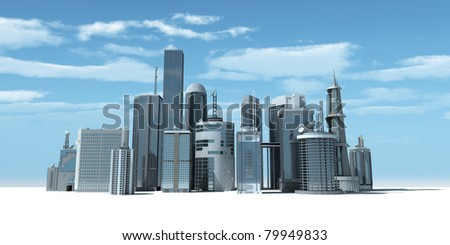 3d rendered illustration of a modern city