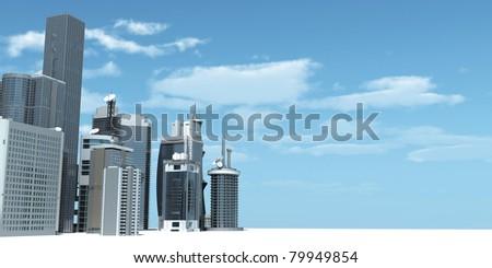 3d rendered illustration of a modern city