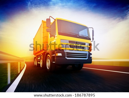 3d rendered illustration of a orange semi-truck with cargo container on blurry asphalt road under blue sky and sunset light #186787895