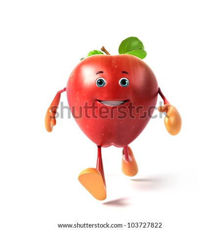 3d rendered illustration of a red apple