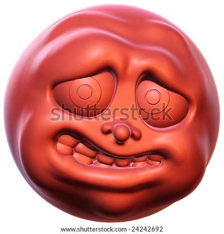3D rendered illustration of an afraid cartoon head