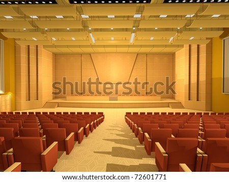 3D rendered illustration of an empty conference hall or room, with lined seats.