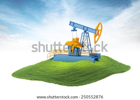 3D rendered illustration of an island with pump jack floating in the air on sky background