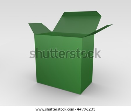 3D rendered illustration of an open green box