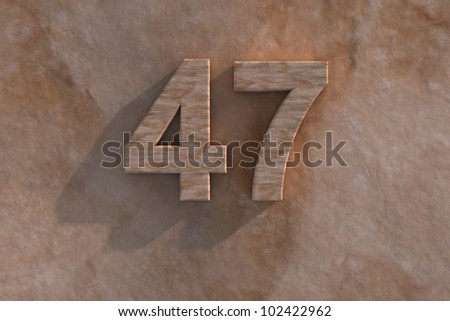 3d rendered illustration of an ornamental 47 in numerals in mottled sandstone on a rough textured wall with shadow