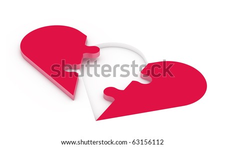 3d rendered illustration of an unsolved heart shaped  jigsaw puzzle consisting of two pieces