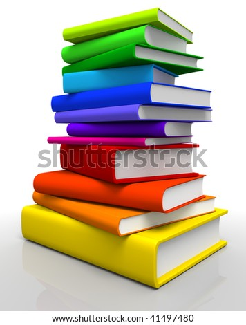 3D rendered Illustration of books stack in spectrum colors