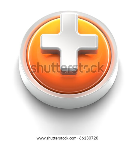 3D rendered illustration of button icon with a plus symbol