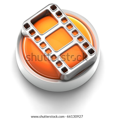 3D rendered illustration of button icon with Film symbol