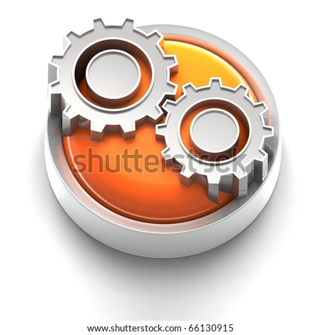 3D rendered illustration of button icon with Gears Icon