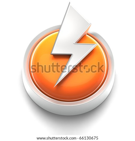 3D rendered illustration of button icon with lightning Bolt symbol