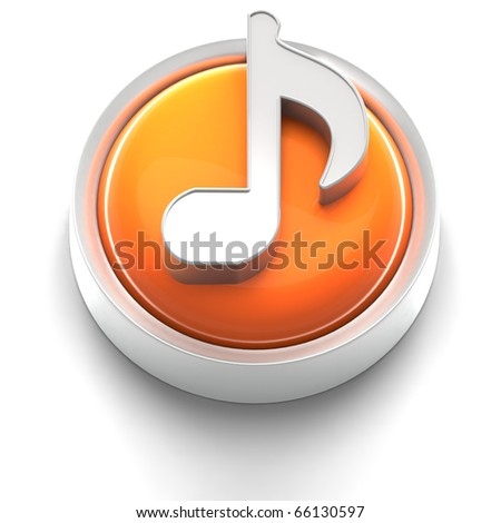3D rendered illustration of button icon with music note symbol