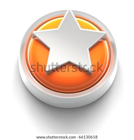 3D rendered illustration of button icon with Star symbol
