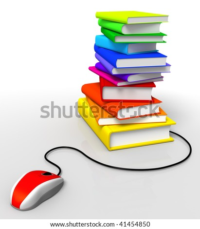 3D rendered Illustration of computer mouse connected to a books stack