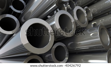 3D rendered illustration of copper metal pipes