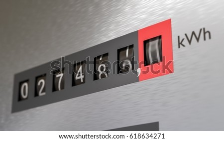 3D rendered illustration of electricity meter. Power consumption concept.