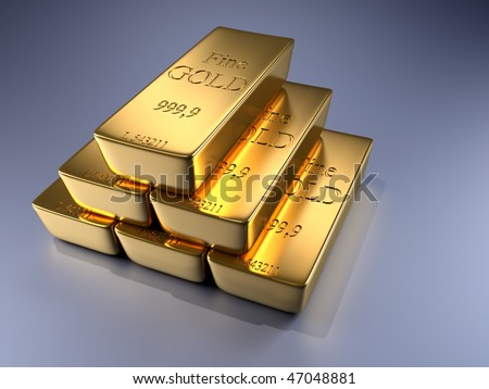 3d rendered illustration of gold bars stack