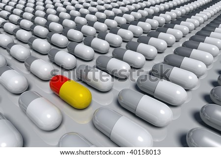 3D rendered illustration of gray pill capsules arrayed in lines, with a colorful, unique capsule among them, metaphor for unique medicine