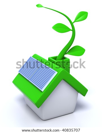 3D rendered illustration of green, ecological house, equipped with solar panels, growing a leaf vine, metaphor for green sources of energy in households