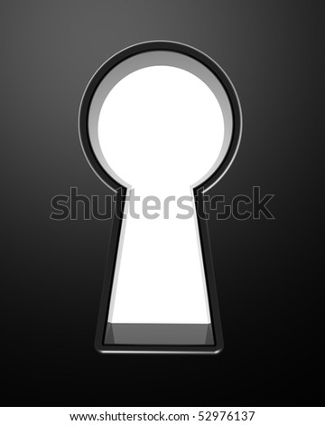 3D rendered illustration of keyhole with clipping path included