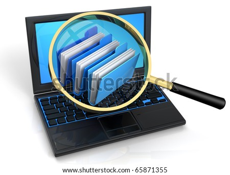 3D rendered illustration of magnifier, aiming and focusing on an archives icon, floating over a laptop screen