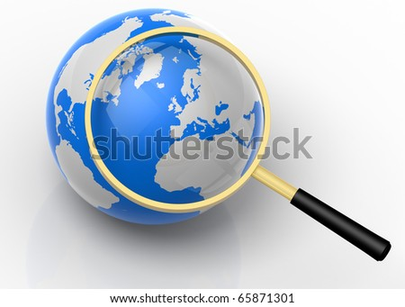 3D rendered illustration of magnifier, aiming and focusing on the globe
