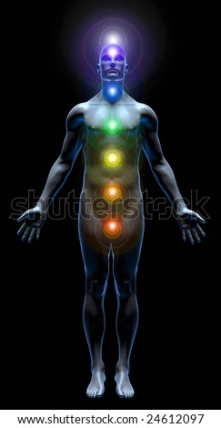 3D rendered illustration of male human body with all seven chakras activated, isolated in black background