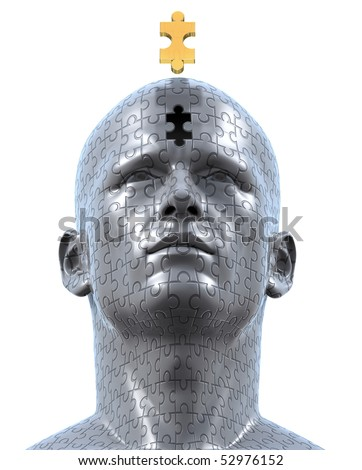 3D rendered illustration of man's bust sculpture made out of jigsaw puzzle pieces, and the golden final piece of the puzzle floating over the final empty space at the bust's forehead.