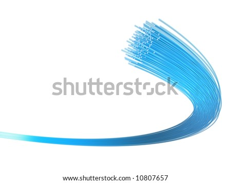 3d rendered illustration of many blue fiber optic cables