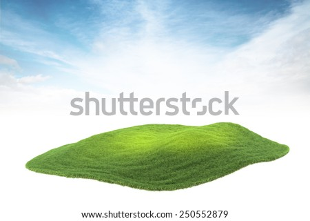 3d rendered illustration of piece of land or island floating in the air on sky background